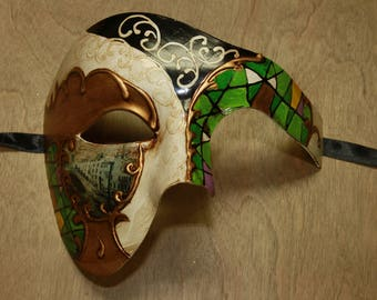 Classic Colorful Green Venetian Costume Masquerade Mask Mosaic Phantom of the Opera Style Scenic Prop PP019GN