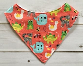 Coral Infant Bib and Toddler Bib (CPSC Certified, Baby Girl Gift, Dribble Bib, Girl Bibdana, Snap On, Whale Bib, Dinosaur Bib, Animal Bib)