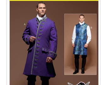 McCall's Sewing Pattern M7585 Men's Three-Quarter-Length Coat and Vest Costume