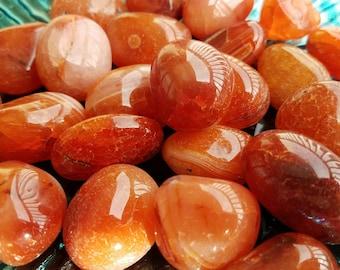 Carnelian Crystal Polished Tumbled Stones Tumbles Pocket Palm Fire Energy Sacral Reiki Crystals