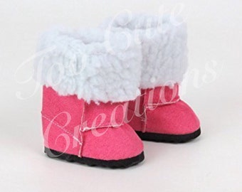 Sale-Pink Suede Boots for Doll, 18 inch doll Accessories