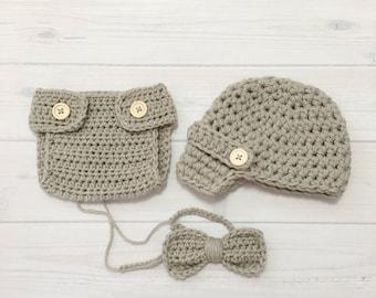 Ready Ship ! 0-3M Baby Boy Photo Prop Handmade Crochet Diaper Cover, Crochet Diaper Cover Hat and Bow Tie Set * Lt Gray *