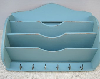 Nice Vintage Shabby Wood Wall Mail Holder Box with 6 Key Hooks in Provence Chalk Paint