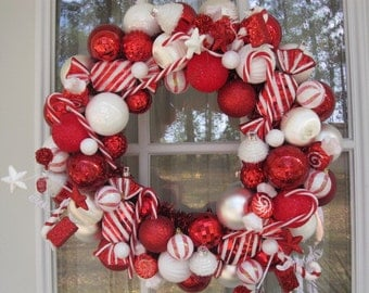 Peppermint Candy Cane Ornament Wreath