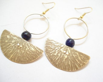 Hammered Bronze Hoops Modern Pendulum Riveted Blue Beads Earrings Cold Connection Contemporary Minimal Metalwork  Earrings