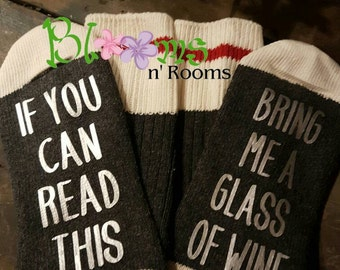 A5-Charcoal Silver; If you can read this socks, wine socks, silver, girlfriend gift, bring me wine socks