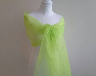 Green yellow organza neon 50/200 cm wedding shawl ~ Christmas ~ party ~ holiday season ~ ceremony ~ cocktail ~
