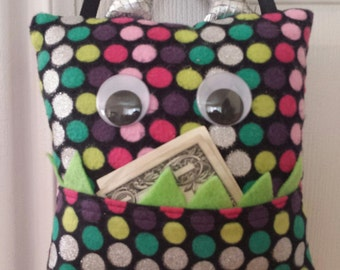 Tooth Fairy Monster Pillow- silver/ polka dot