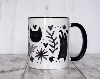 Watercolour Black Cat Floral Pattern Mug 11oz