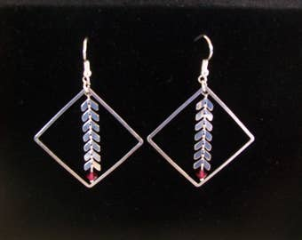 earring silver and square