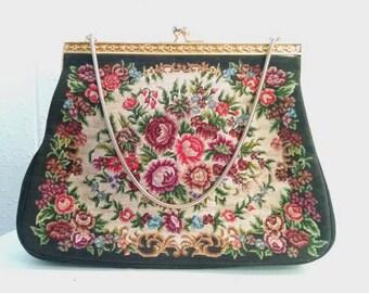 Vintage Floral Rose Tapestry Handbag 60s Evening Bag