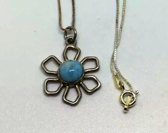 Flower larimar sterling silver necklace