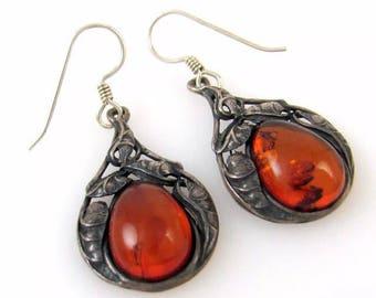 Beautiful vintage Baltic amber sterling silver earrings