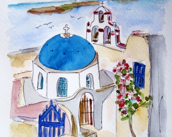 GREEK ISLANDS SANTORINI / unique original watercolor / Poseidon / Oia / travel - 2011 - 13.7 x 9.8 in
