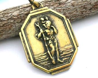 Vintage Brass Saint Christopher Medal