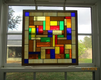 "Stained Glass Window Panel  ""Square Amber Blocks"" Framed"