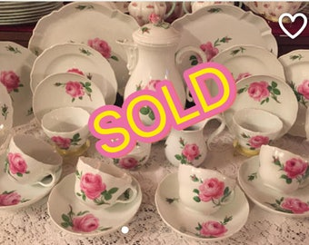 SOLD! Meissen Pink Rose Tea set for Six 26 pieces.