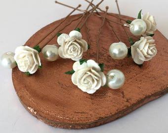 Ivory Pearl Hair Pins, Wedding Hair Pins, Bridal Hair Accessories, Bridesmaid Hair Pins, Rose and Ivory Pearl Hair Pins