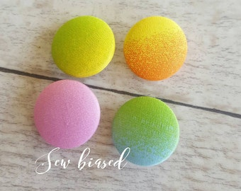Summer Rainbow Fabric Covered Buttons ~ 23mm ~ Set of FOUR buttons Handmade in Australia