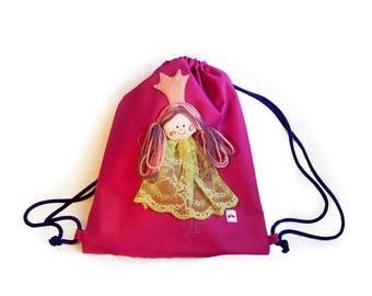 Princess nursery bag, Waterproof swim Bag, Kids Drawstring Backpack, Children swimming bag, Girls sport and swim bag, Pink pre-school bag