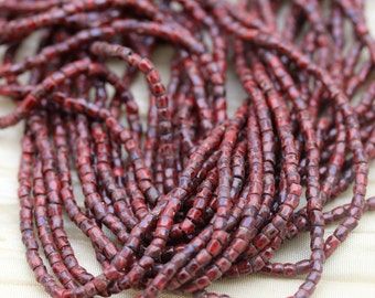 "RARE!!! Full hank!  9/0 3Cut Red Picasso Czech seed beads - 10/18"" hank"