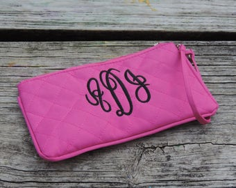 Pink Wristlet Purse, Makeup Bag, Wallet Machine Embroidered - Monogrammed and Personalized With Your Name or Initials in Machine Embroidery
