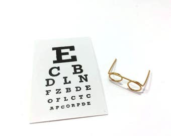 Miniature Eye Chart and Glasses Set of 2 Dollhouse Medical Miniatures 1:12 Scale - 312