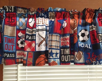 All Sports Patchwork Valance  Football, Baseball, Soccer, Basketball  70 Inches Wide