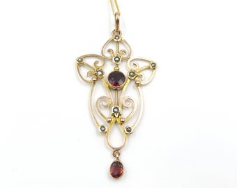 Antique 9ct Gold, Garnet & Pearl Pendant | 9k Victorian - Edwardian Lavaliere Necklace