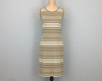 80s 90s St John Marie Gray Dress St John Knits Sleeveless Fitted Dress Horizontal Stripe Beige Tan White Size 4 Dress XS Womens Clothing