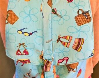 Backpack, Drawstring Backpack, Travel Bag, School Backpack, Daypack, Beach Bag, Large Shoulder Bag, Bucket Bag in Beach Print - Made in Maui