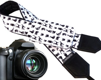 Cat camera strap with pocket. Black and white animals. Cute pets. DSLR camera strap for photographers. Camera accessories by InTePro