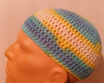 Teal, blue, yellow, and white kufi beanie skullcap crochet medium