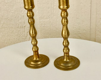 Vintage Brass Candlesticks, Set of Two Brass Candle Holders