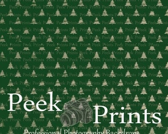 2ft.x2ft. Little Green Trees- Vinyl Photography Backdrop- Christmas Tree Drop- Photo booth Christmas Party Supplies