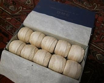 DMC ecru cotton cordonnet 10 balls, 20 gm each, in original box, No 30 crochet, lacework, or tatting thread