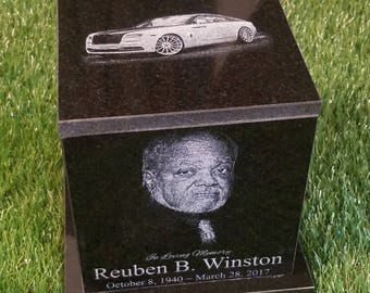 Original Handmade Adult Granite Urn  150 CU In. Beautifully Engraved with your loved ones pictures