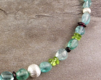 Blue apatite necklace with colored gemstones, Peridot, Garnet, spinel, sterling silver chain, necklace, necklace with gemstones, gift girlfriend,.