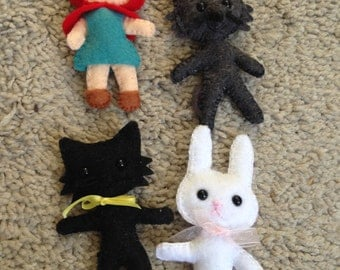 Set of Four Felt Hand Made Characters Including Little Red Riding Hood and the Big Bad Wolf
