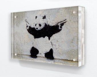 Banksy - Panda Guns Grey - Horizontal - Acrylic Block Photo Frame