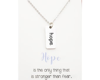 Hope tag necklace - hope jewelry - inspirational jewelry - encouraging gift - encouragement jewelry - silver hope charm - hope word charm