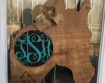Horse door hanger, horse decor, country door hanger, monogram door hanger, cowboy door hanger, cowgirl door hanger, horse
