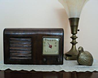 Zenith Radio Philco Transitone Table Top Radio 1920-1930's Art Deco Waterfall Design Mahogany Wood Case Old Working Radio Father's Day Gift