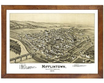 Mifflintown, PA 1895 Bird's Eye View; 24x36 Print from a Vintage Lithograph