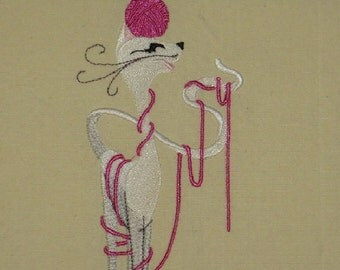 Knitting Cat Towel