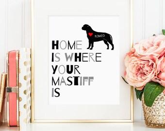 Mastiff art, Bullmastiff dog print, personalized dog art print for your Mastiff, Mastiff wall art, gift for Bullmastiff dog owners, wall art
