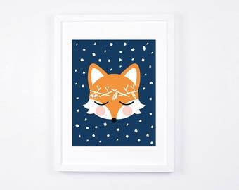 Fox Art Illustration, Printable Art for Nursery, Navy Blue Unisex Nursery Decor, Gender Neutral Nursery Decor, Woodland Wreath, Download