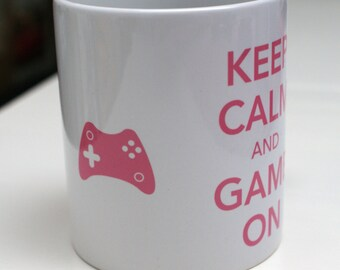 Pink Keep Calm and Game On Mug - fun mug, video game mug, typographical mug