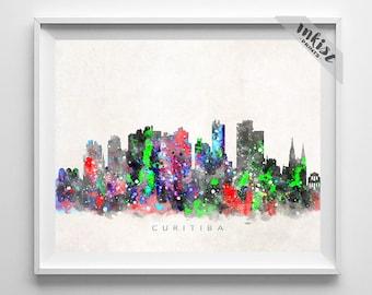 Curitiba Skyline Print, Brasil Print, Curitiba Poster, Brazil Cityscape, Dorm Art, Giclee Art, Watercolor Painting, Dorm Decor