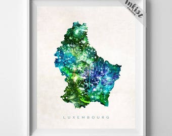 Luxembourg Map Print, Luxembourg Poster, Luxembourg City Print, Watercolor Painting, Map Art, Wall Decor, Travel Poster, Dorm Decor